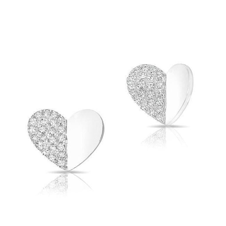 Diamond Folded Heart Stud Earrings