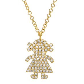 14K Yellow Gold Diamond Girl Pendant