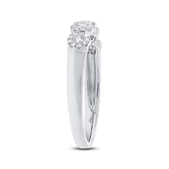 14K White Gold Diamond Halo Small Band