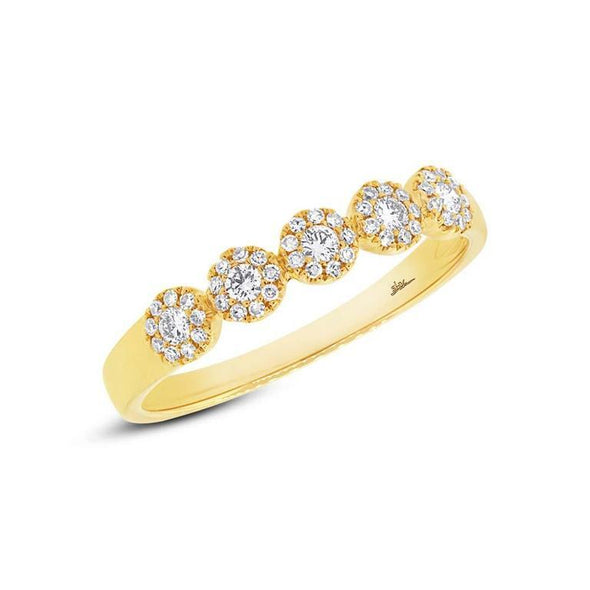 14K Yellow Gold Diamond Halo Band