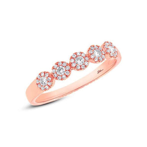 14K Rose Gold Diamond Halo Small Band