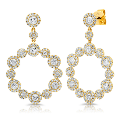 14K Yellow Gold Diamond Halo Circle Dangle Earrings