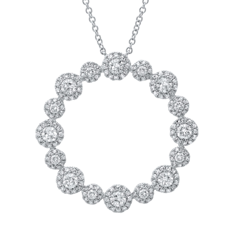 Diamond Halo Circle Pendant