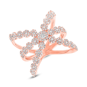 14K Rose Gold Diamond Halo Crossover Ring