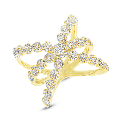 14K Yellow Gold Diamond Halo Crossover Ring
