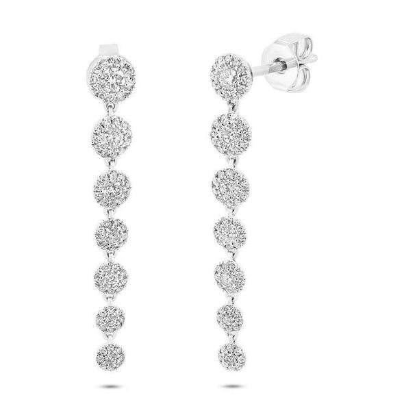 14K White Gold Diamond Halo Dangle Earring