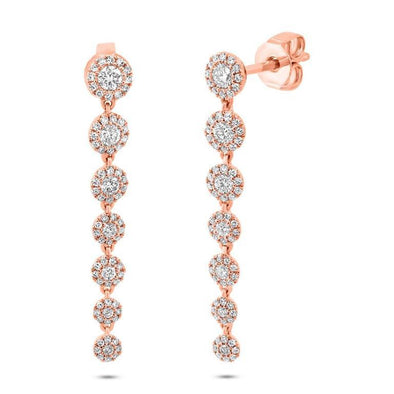 14K Rose Gold Diamond Halo Dangle Earring