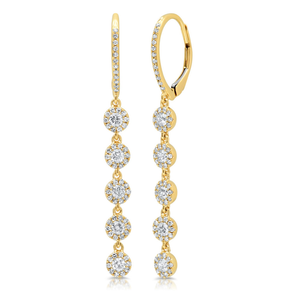 14K Yellow Gold Diamond Halo Dangle Earrings