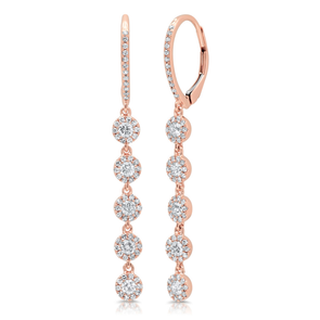 14K Rose Gold Diamond Halo Dangle Earrings