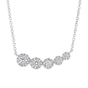 14K White Gold Diamond Halo Graduating Necklace