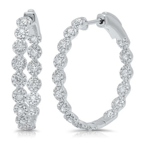 Diamond Halo Hoop Earrings