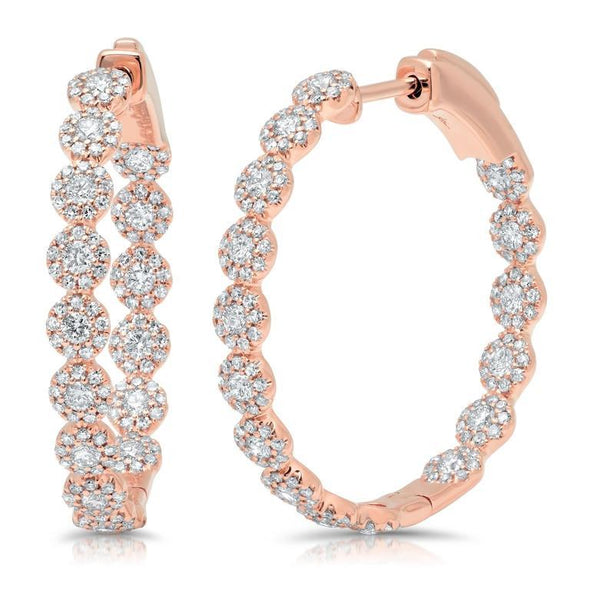 14K Rose Gold Diamond Halo Hoop Earrings