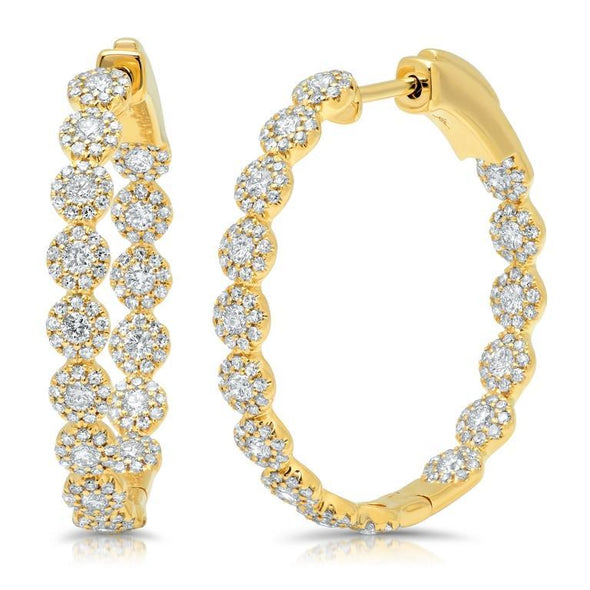 14K Yellow Gold Diamond Halo Hoop Earrings