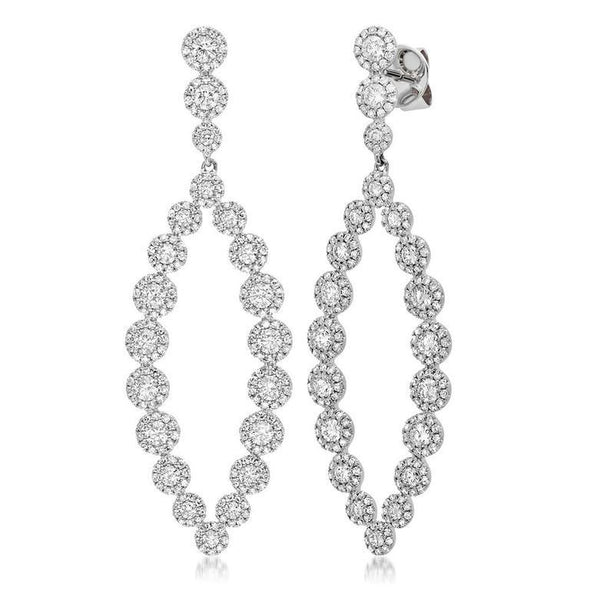 14K White Gold Diamond Halo Marquise Shaped Dangle Earrings