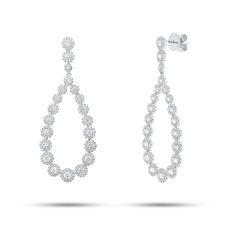 Diamond Halo Pear Drop Earrings