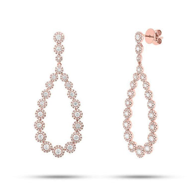 14K Rose Gold Diamond Halo Pear Drop Earrings