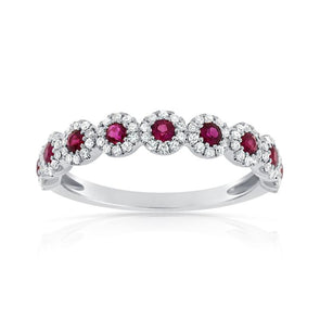 Diamond Halo Ruby Ring