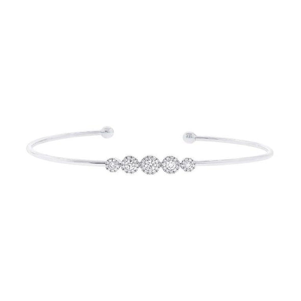 14K White Gold Diamond Graduating (5) Cluster Cuff Bangle