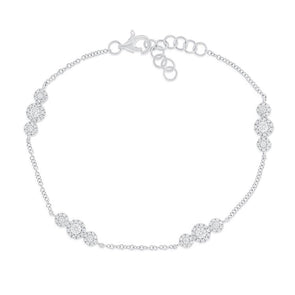 Diamond Halo Trio Bracelet