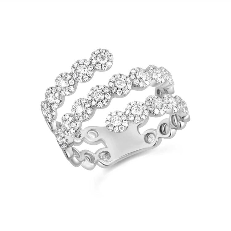 Diamond Halo Triple Wrap Ring