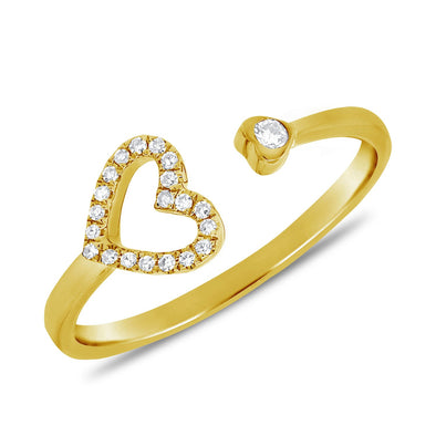 Diamond Heart Cuff Ring