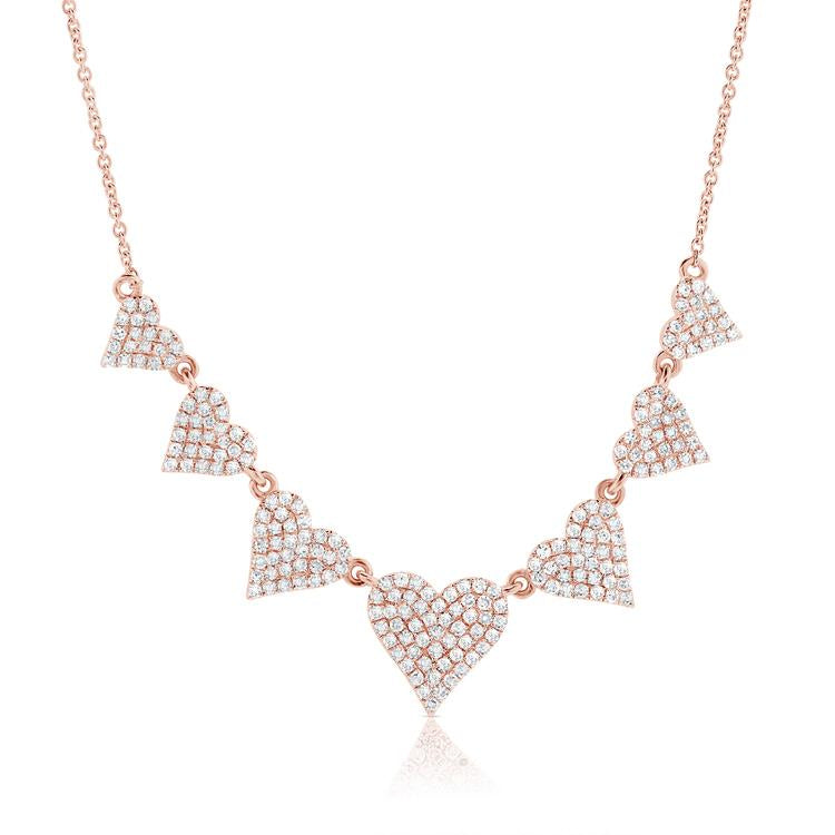 Diamond Heart Row Necklace