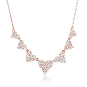Rose Gold 14K Diamond Heart Row Necklace