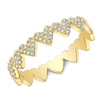 Diamond Heart Stackable Band