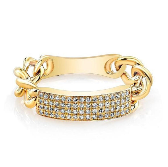 14K Diamond ID Chain Link Ring