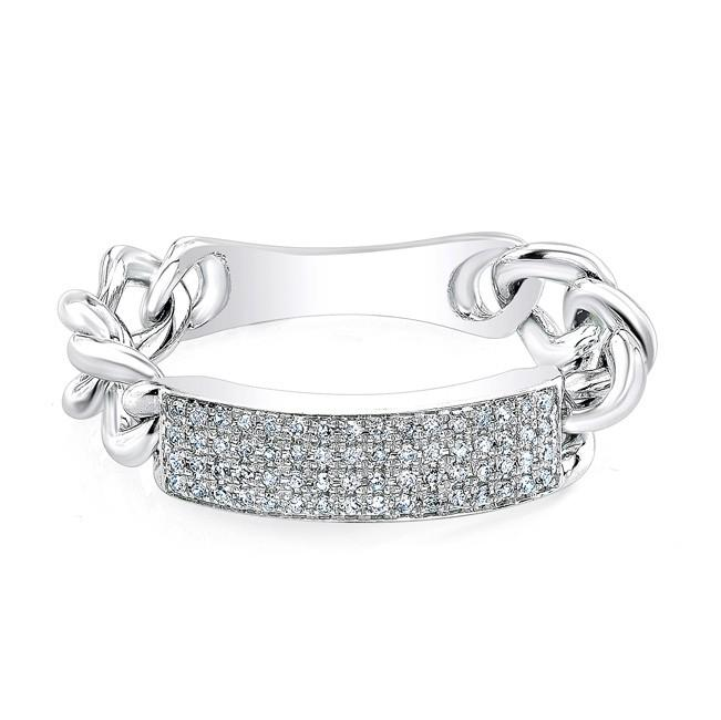 Diamond ID Chain Link Ring