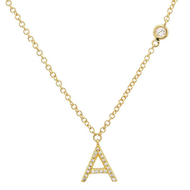 Diamond Initial Necklace with Diamond Chain