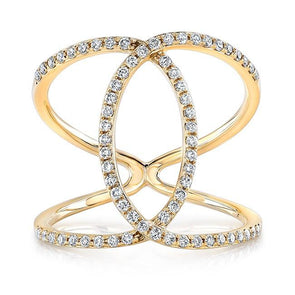Diamond Intertwined Circle Ring