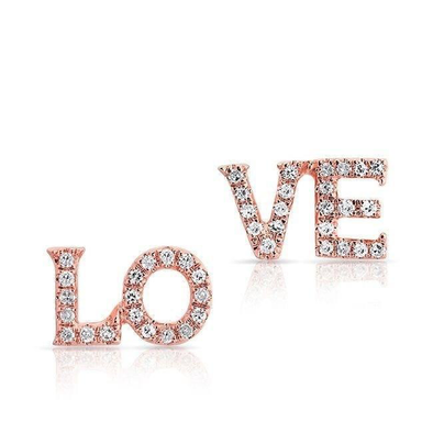 "Rose Gold 14K Diamond ""LO-VE"" Earrings"