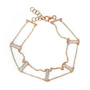 14K Rose Gold Diamond Ladder Bracelet