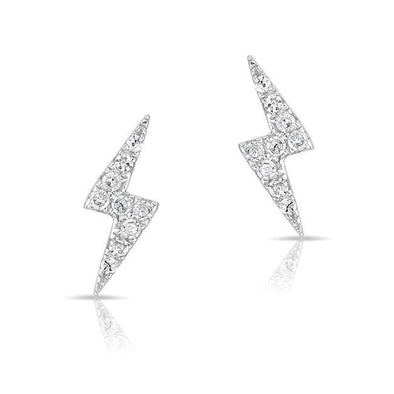14K Gold Diamond Lightning Bolt Stud Earrings