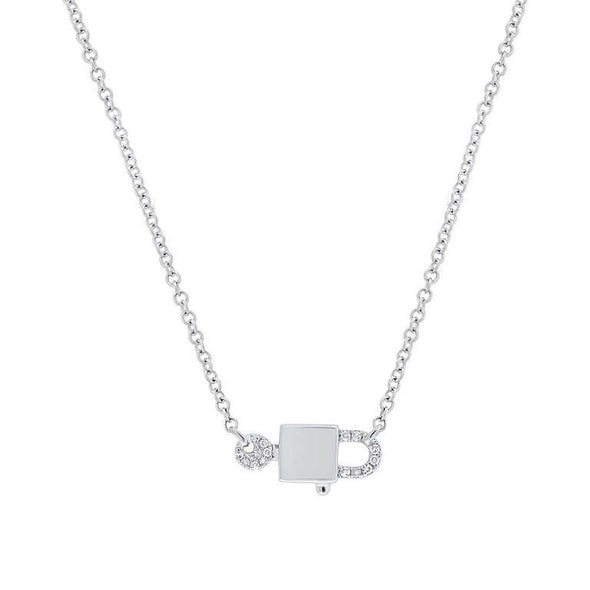 Yellow Gold 14K Diamond Lock & Key Necklace