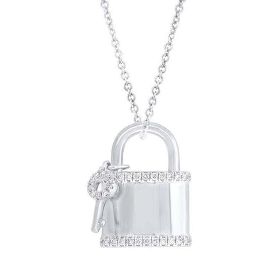 14K White Gold Diamond Locket And Key Necklace