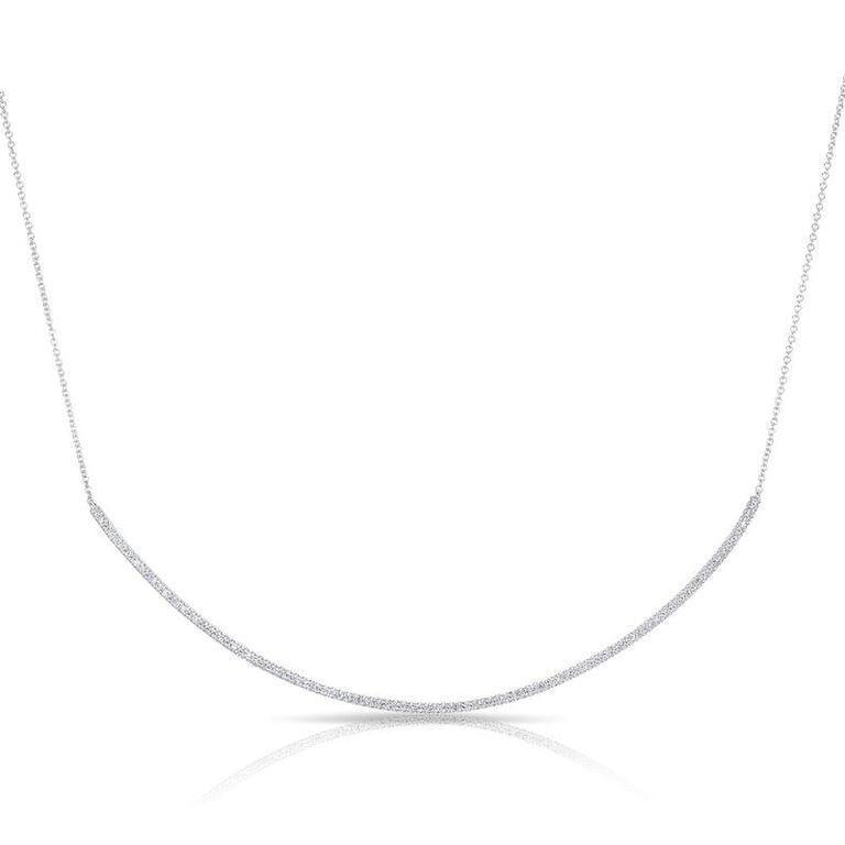 Diamond Long Thin Crescent Necklace