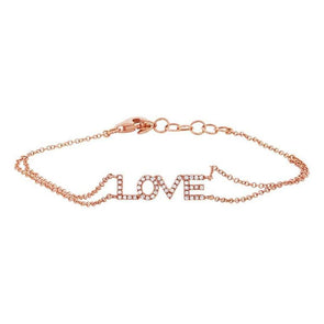 "Rose Gold 14K Diamond ""Love"" Double Chain Bracelet"