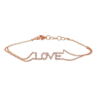 "14K Rose Gold Diamond ""Love"" Double Chain Bracelet"