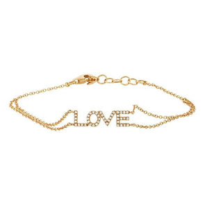 "Yellow Gold 14K Diamond ""Love"" Double Chain Bracelet"