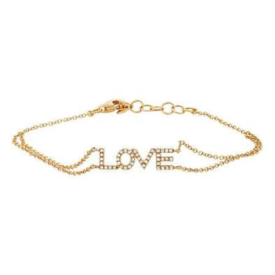 "14K Yellow Gold Diamond ""Love"" Double Chain Bracelet"