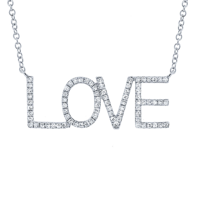 "14K White Gold Diamond ""LOVE"" Necklace"