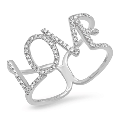 "14K White Gold Diamond ""LOVE"" Ring"