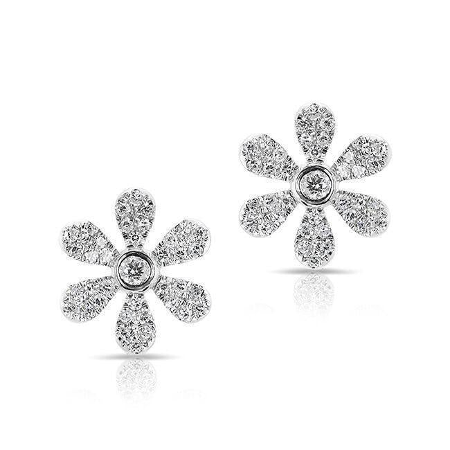 Diamond Mini Daisy Flower Stud Earrings