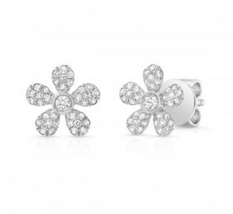 Diamond Mini Flower Stud Earrings