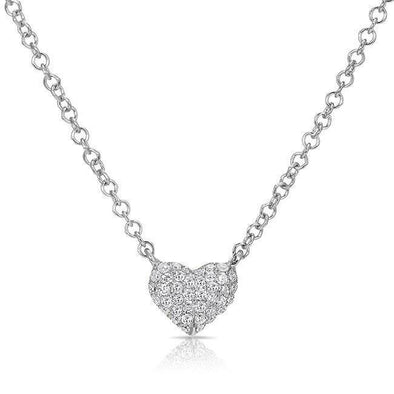 White Gold 14K Diamond Mini Heart Necklace
