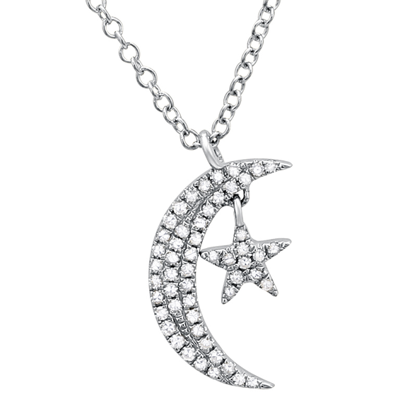 Diamond Mini Moon and Star Necklace