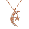 14K Rose Gold Diamond Mini Moon and Star Necklace
