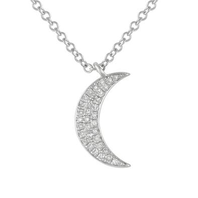 14K White Gold Diamond Mini Moon Necklace